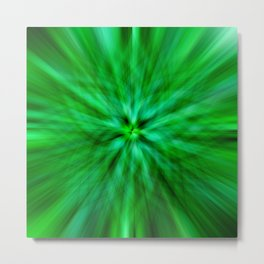 Green Star Flower Glow Metal Print