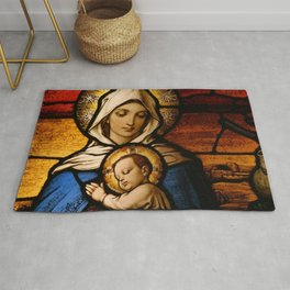 Stained Glass Mother Of God Mary Art Rug