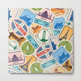 Travel Lover Postcards from Everywhere Metal Print