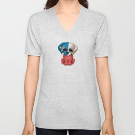 Cute Puppy Dog with flag of Chile Unisex V-Neck