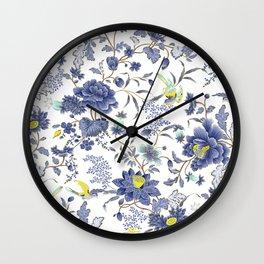 dainty cottagecore floral pattern - blue/purple Wall Clock