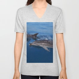 Mother and baby spotted dolphin Unisex V-Neck
