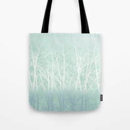 Frosted Winter Branches in Misty Green Tote Bag