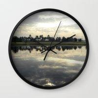 florida Wall Clocks featuring Florida Sunrise by Stephanie Stonato