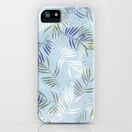Pretty tropical Palm leaf pattern illustration - blue, kaki #tropicalart iPhone Case