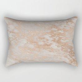 Rose Gold Copper Glitter Metal Foil Style Marble Rectangular Pillow