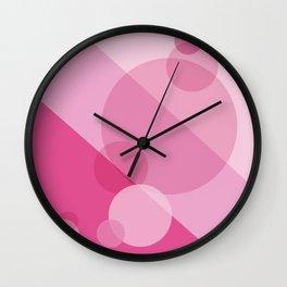 Pink Spheres Abstract Wall Clock