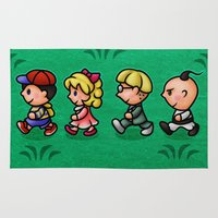 earthbound Area & Throw Rugs featuring Earthbound Guys by likelikes