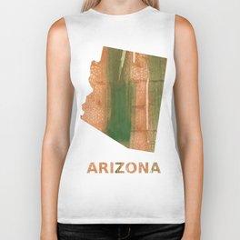 Arizona map outline Peru green streaked wash drawing Biker Tank