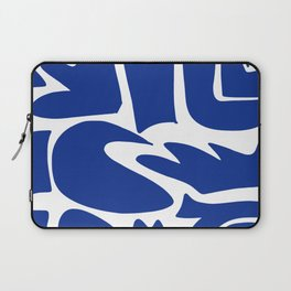 Blue shapes on white background Laptop Sleeve