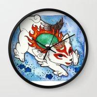 okami Wall Clocks featuring Amaterasu from Okami 04 by Jazmine Phillips