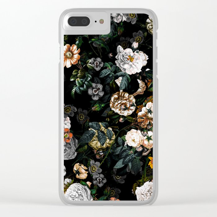 Floral Night Garden Clear iPhone Case