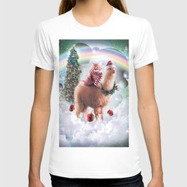 Christmas Rainbow Llama - Cat Llama T-shirt