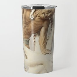 Wood Carving, hand–colored albumen silver print from Japan (1897) by Kazumasa Ogawa Travel Mug