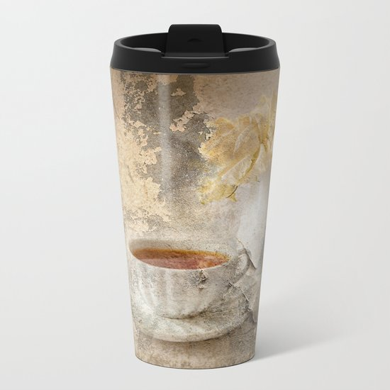 Vintage Roses Metal Travel Mug