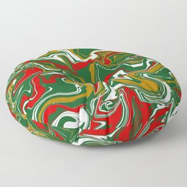 Green, Red, White, and Gold Christmas Marble Floor Pillow