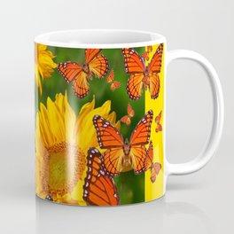MONARCH BUTTERFLIES YELLOW SUNFLOWERS  GREEN ART Coffee Mug