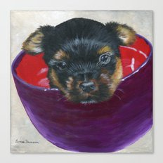 Big Bowl of Puppy Love by Teresa Thompson Canvas Print