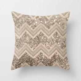 Sepia Glitter Chevron #1 #shiny #decor #art #society6 Throw Pillow