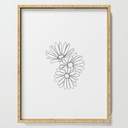 Daisies botanical illustration - Jo Serving Tray
