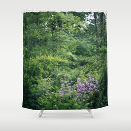 Purple Flowers Growing in the Forest Shower Curtain