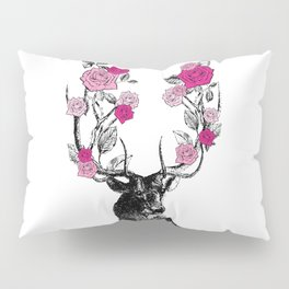 The Stag and Roses | Deer and Flowers | Pink | Vintage Stag | Vintage Deer | Antlers | Woodland | Pillow Sham