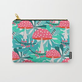 Cheerful mushrooms and flowers Carry-All Pouch