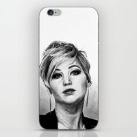 jennifer lawrence iPhone & iPod Skins featuring Jennifer Lawrence by Cécile Pellerin