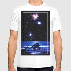 Sky, stars and the sea. White MEDIUM Mens Fitted Tee