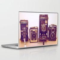 cameras Laptop & iPad Skins featuring Vintage Cameras by D C Cash
