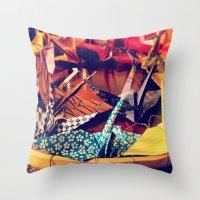 crane Throw Pillows featuring Crane  by Francessca.n.Angel