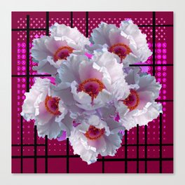MODERN WHITE TREE PEONY FLOWERS  BURGUNDY-BLACK ART Canvas Print