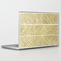 gold foil Laptop & iPad Skins featuring Gold Foil Chevron by Berty Bob