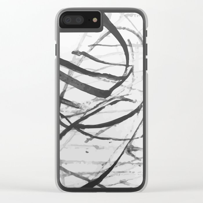 wild black strokes Clear iPhone Case