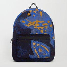 Elegance Mandala Metallic Royal Blue Gold Backpack