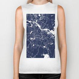 Amsterdam Navy Blue on White Street Map Biker Tank