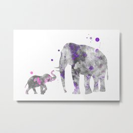 Mom and Baby Elephant Watercolor Painting Lilac Pink Metal Print