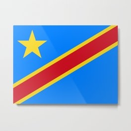 National flag of the Democratic Republic of the Congo, Authentic version (to scale and color) Metal Print