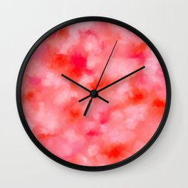 Blush Cream Coral Floral Abstract Wall Clock