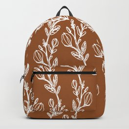 Sketched Trailing Floral Botanical in Clay Backpack