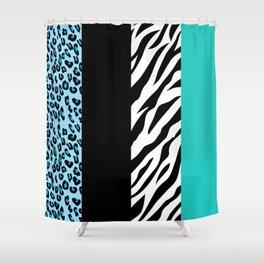 Animal Print, Zebra Stripes, Leopard Spots - Blue Shower Curtain