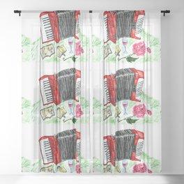 Retro red accordion Sheer Curtain
