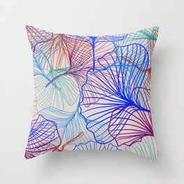 Ginkgo Leaves in Retro Rainbow Throw Pillow