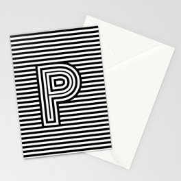 Track - Letter P - Black and White Stationery Cards