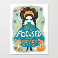 motivational Canvas Prints featuring Motivational girl by Gaia Marfurt