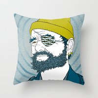 steve zissou Throw Pillows featuring Steve Zissou by Chelsea Kepner