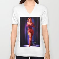 jessica lange V-neck T-shirts featuring Jessica Rabbit by Isaiah K. Stephens