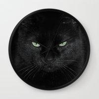 satan Wall Clocks featuring Satan Cat by Satan Cat