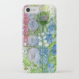 Rainbow Garden Watercolor Ink Painting iPhone Case
