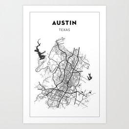 AUSTIN MAP PRINT Art Print